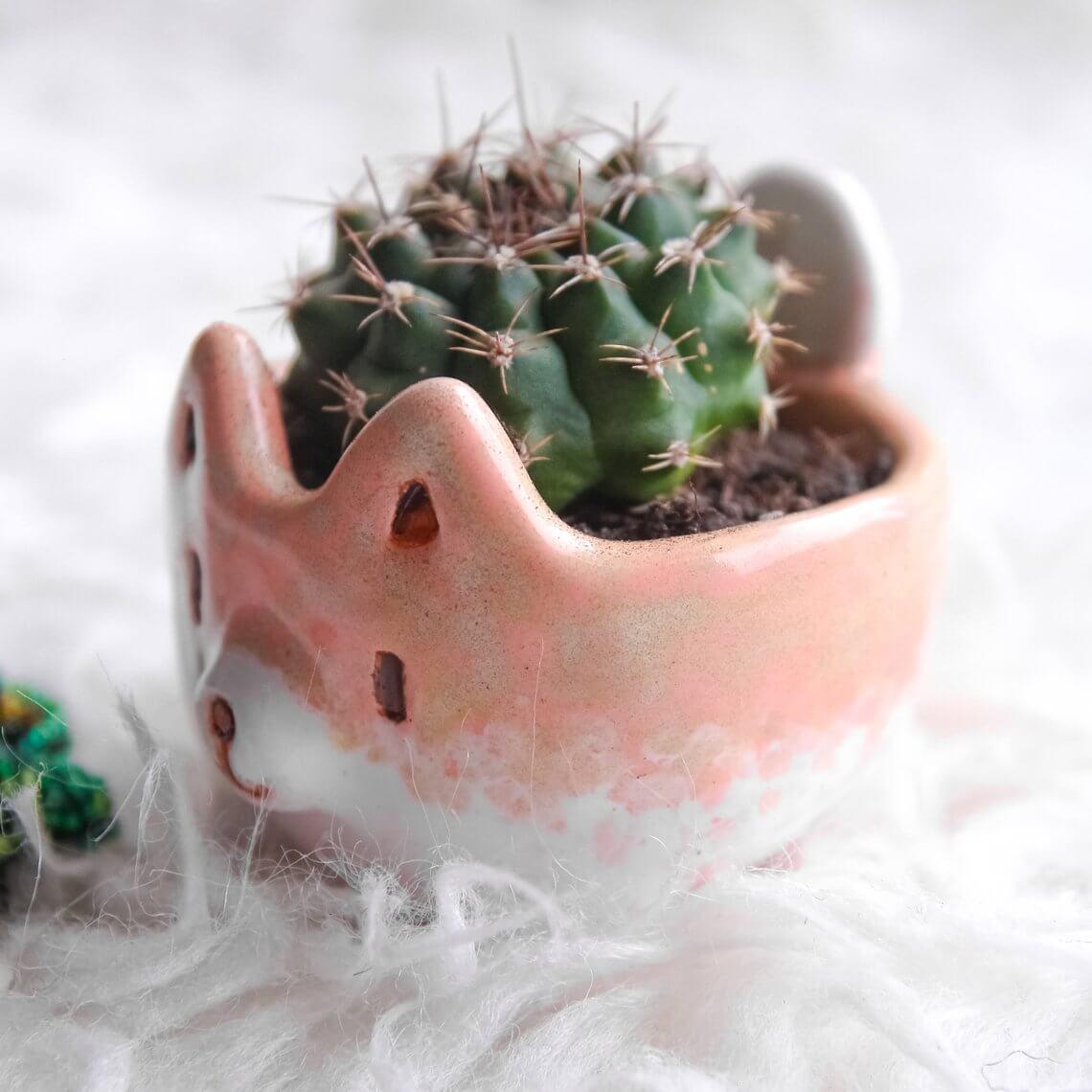 Multi-Colored Clay Akita Puppy Pot