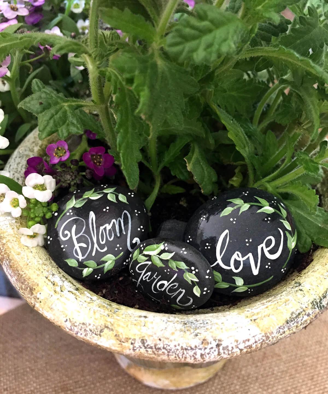 Bespoke Hand Painted Inspiring Garden Stones