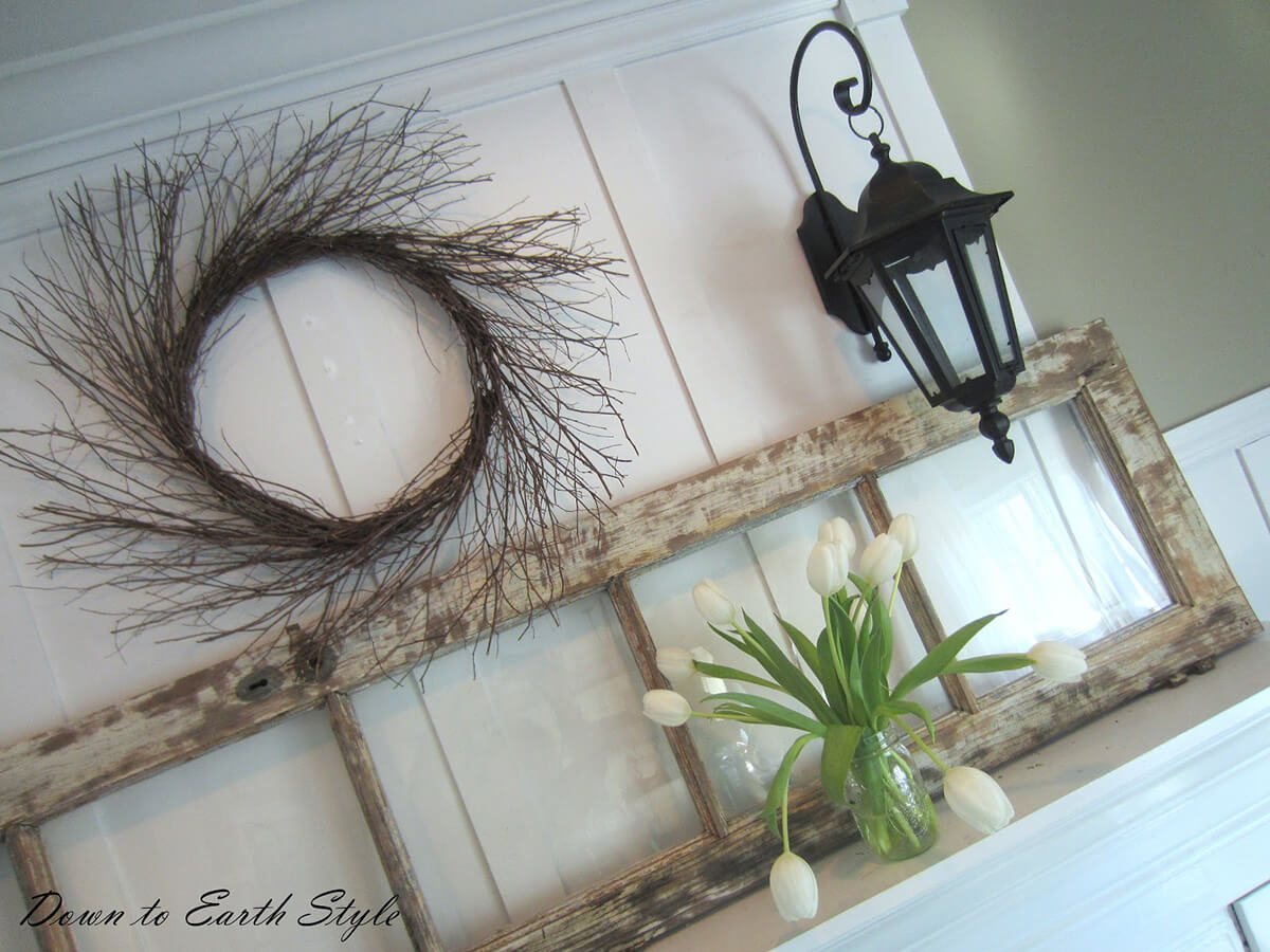 Upcycled Glass-Paned Door Decor