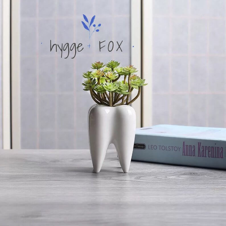 Bright White Tooth Planter