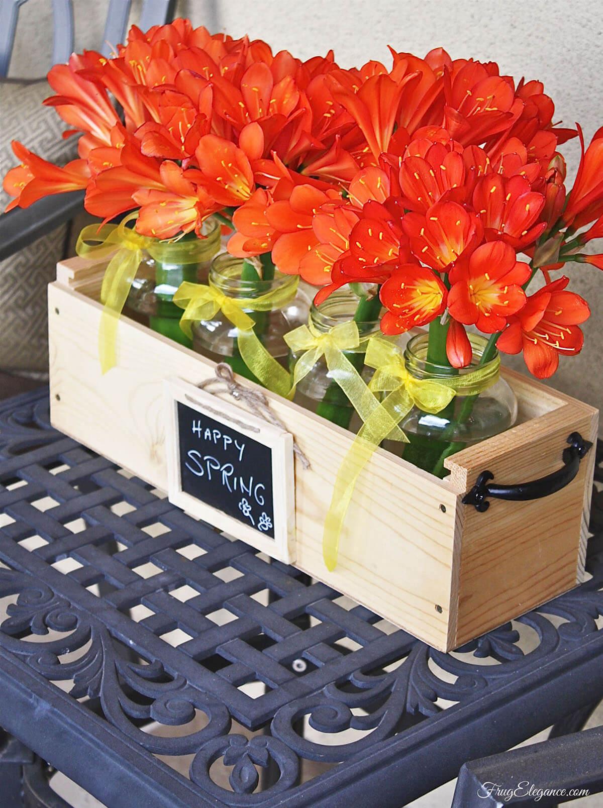 DIY Wine Bottle Case Flowerbox Centerpiece
