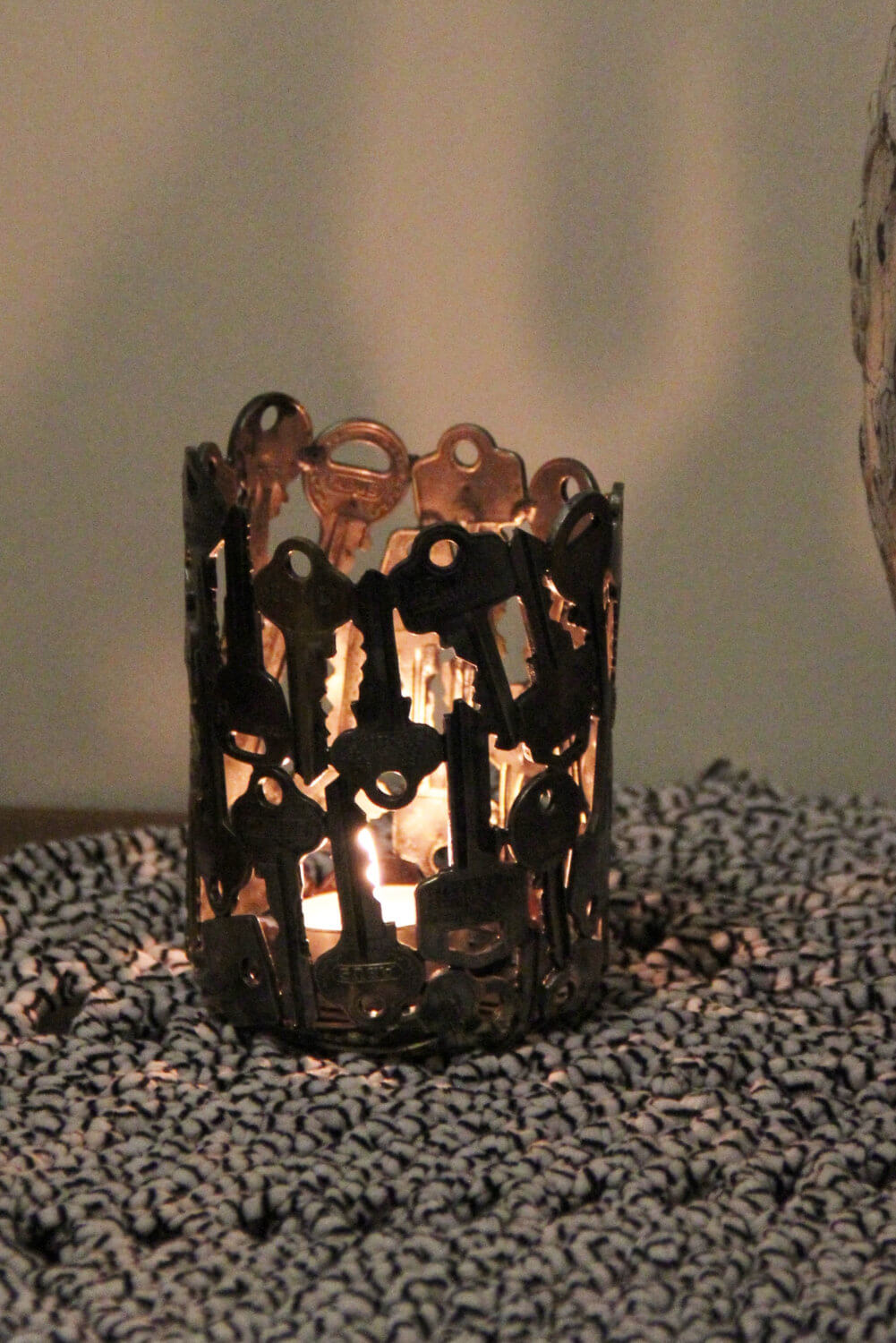 Decorative Votive Holder Made of Old Keys