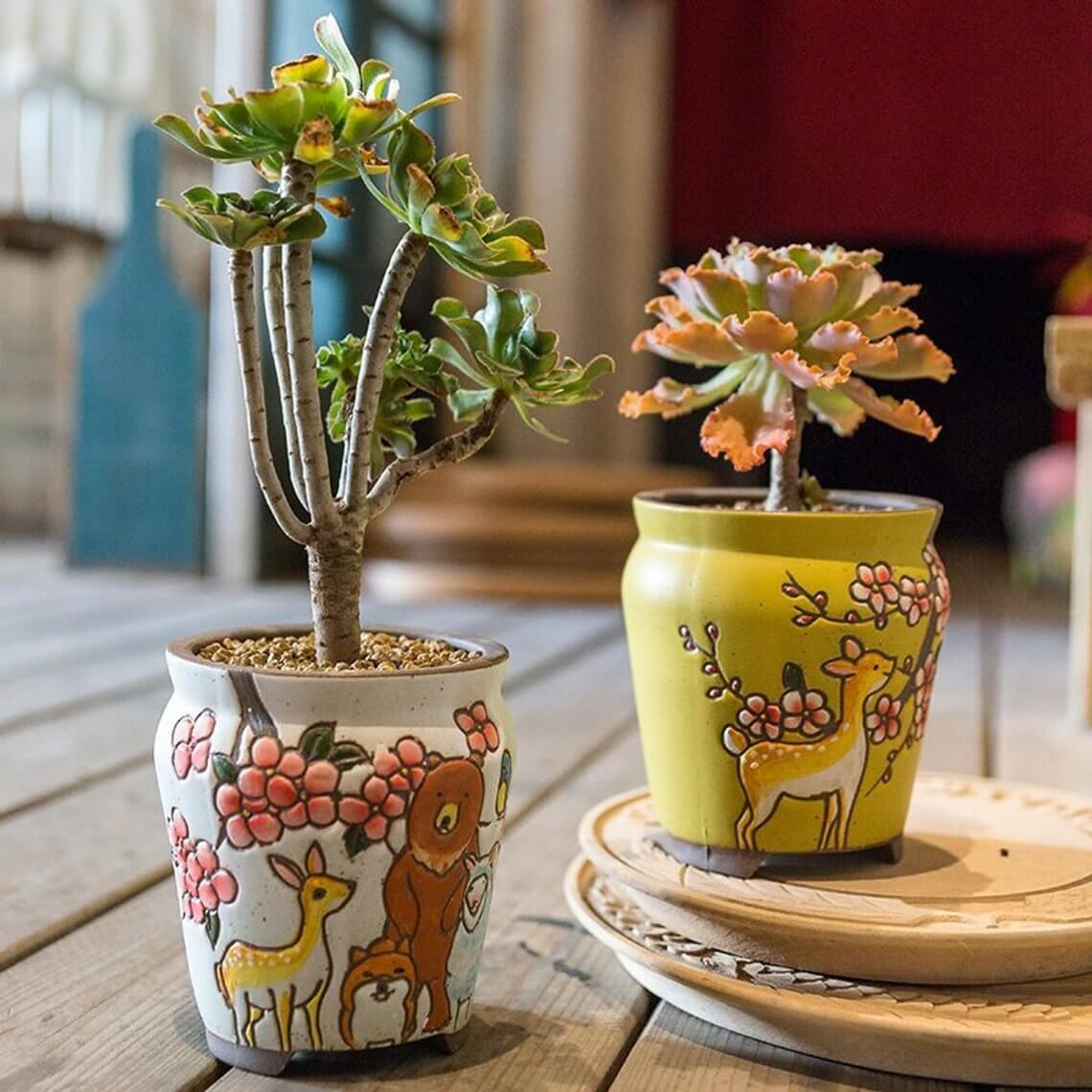 Sweet Woodland Creature Ceramic Pots