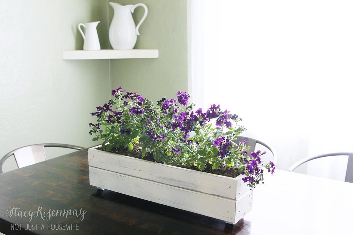 Rustic DIY Wood Slat Flowerbox Centerpiece