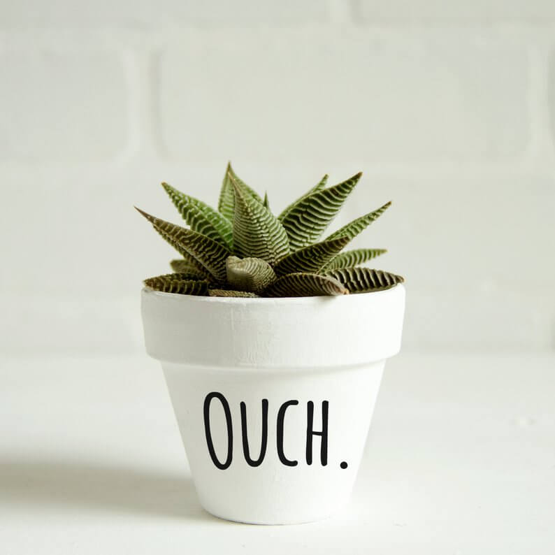 Plain White Pot with Custom Message