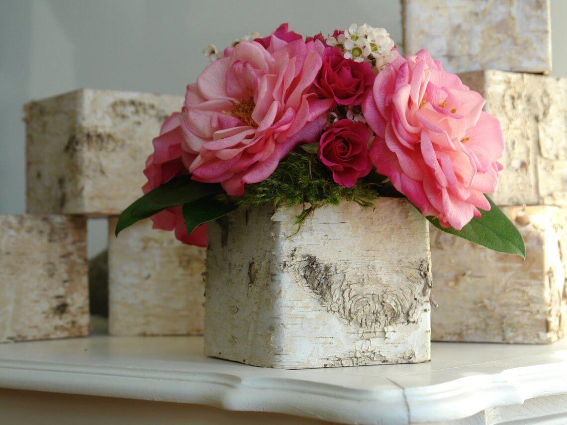 DIY Birch Bark Flowerbox Centerpiece