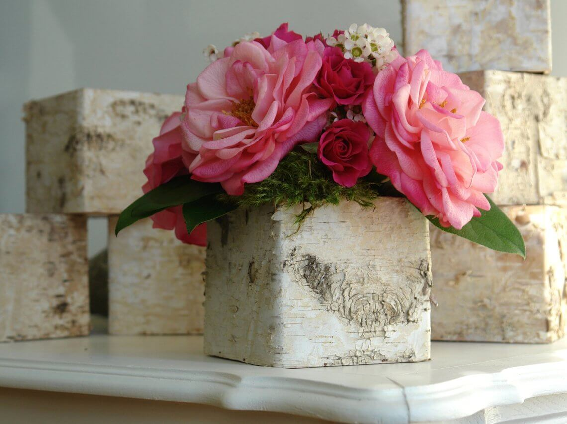 DIY Birch Bark Flowerbox Centerpiece