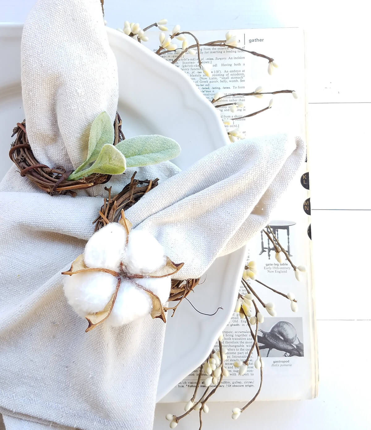 Delicate Cotton and Twine Napkin Rings
