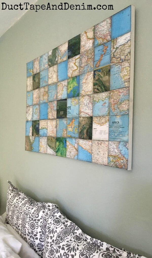 Beautiful Paper Map Mosaic Artwork