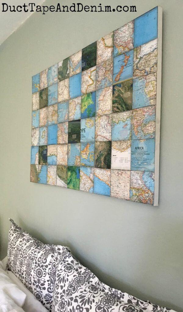Beautiful Paper Map Mosaic Artwork