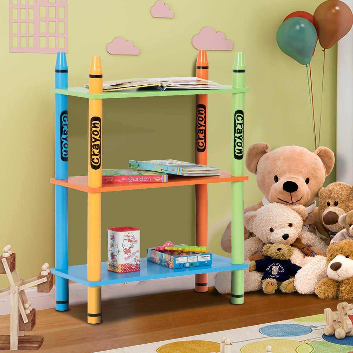 Three-Tier Crayon Shelves Storage Idea