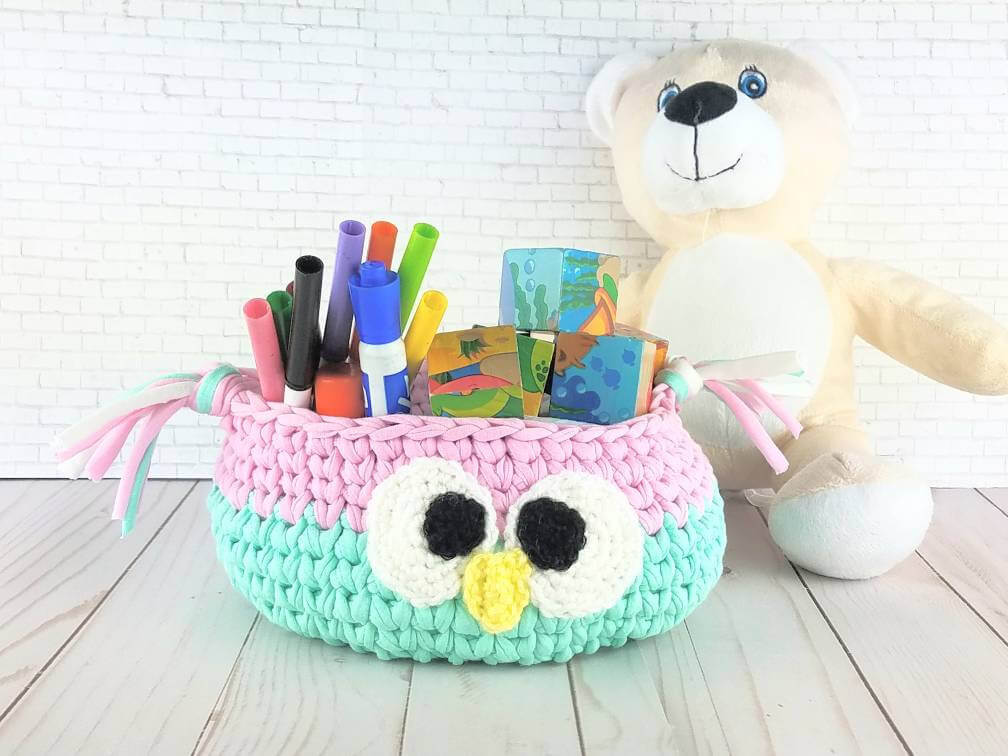 Cute Character Knitted Crochet Baskets