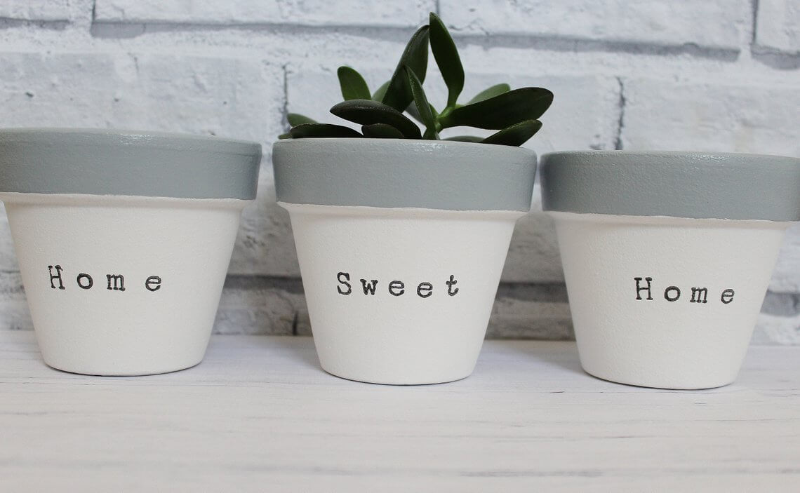 "Hand-Stamped ""Home Sweet Home"" Set of Three"