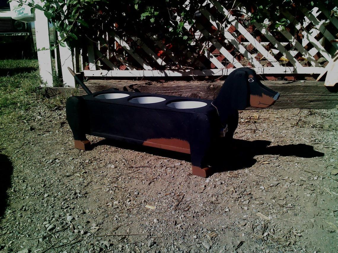Wooden Three-in-One Dachshund Planter