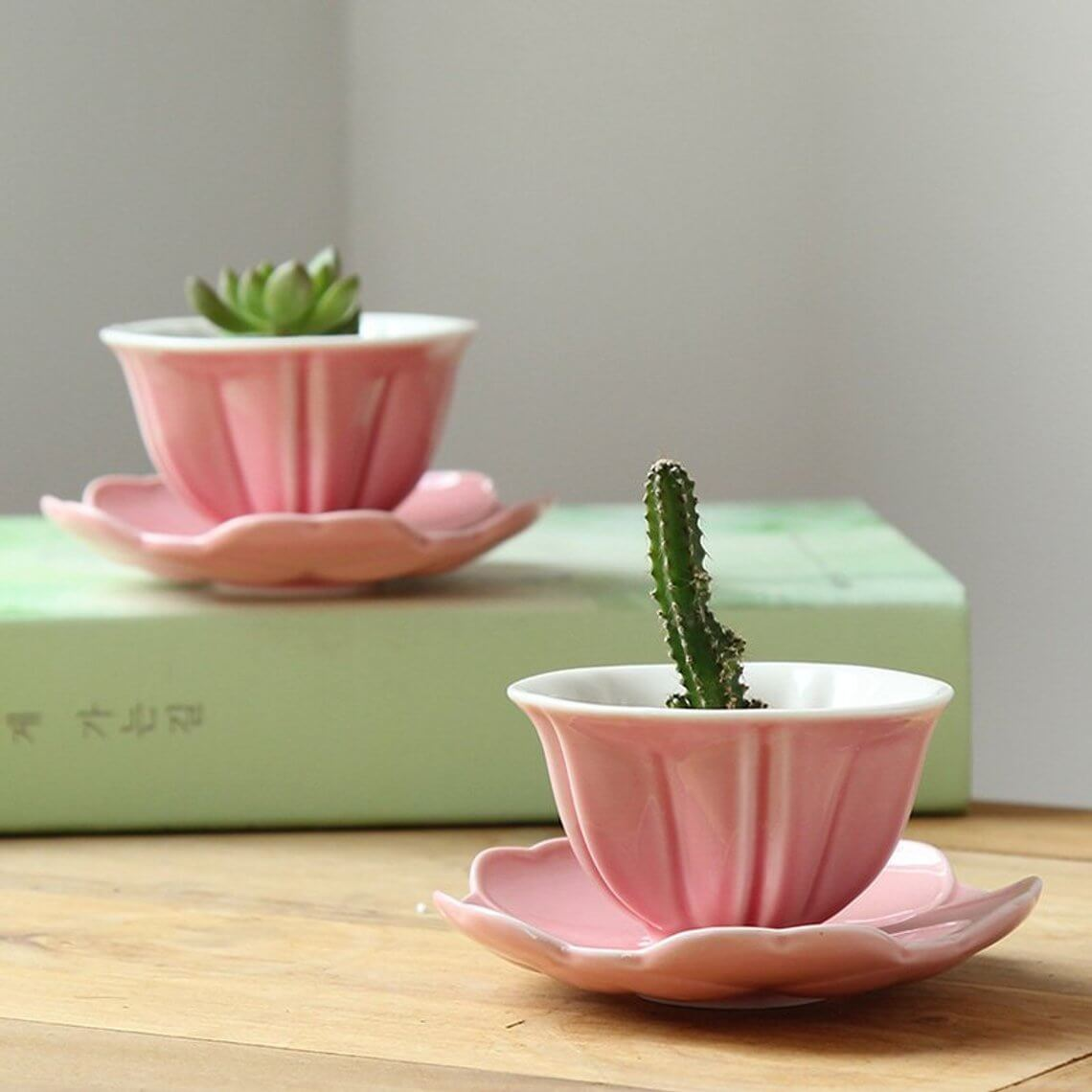 Delicate Pink Teacup Succulent Holder