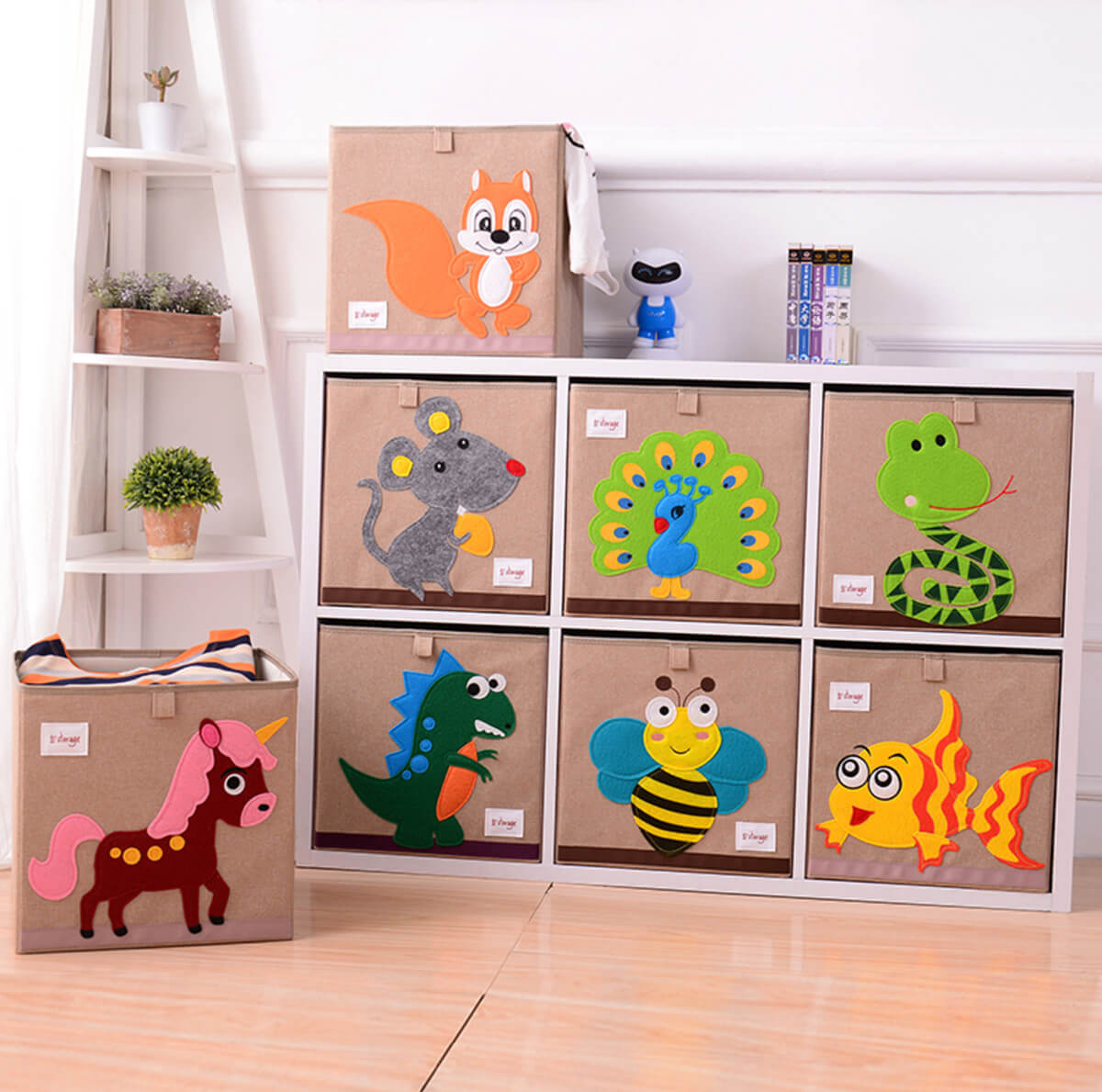 Playful Patterned Toy Storage Bins