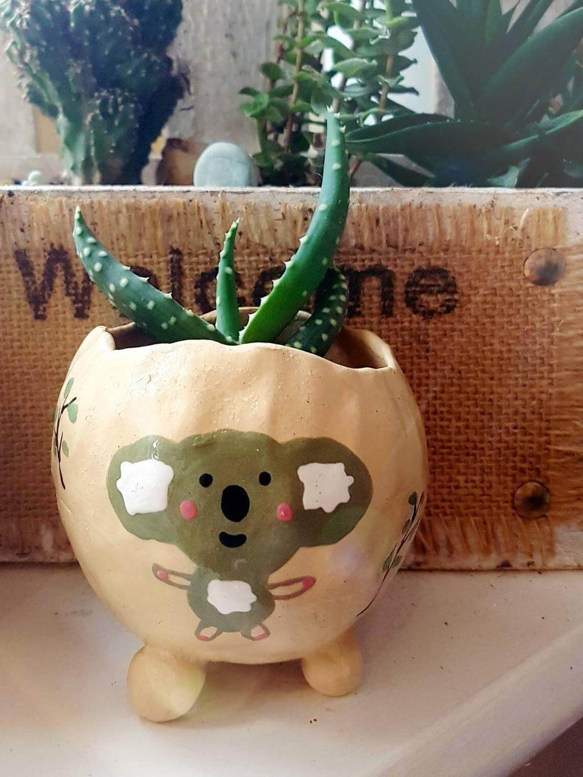 Hand-Drawn, Hand-Made Koala Pot