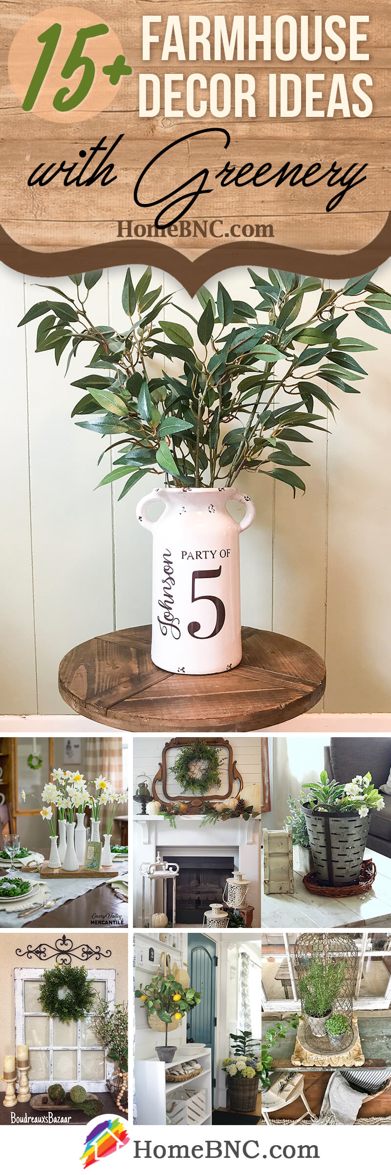 Farmhouse Decor with Greenery