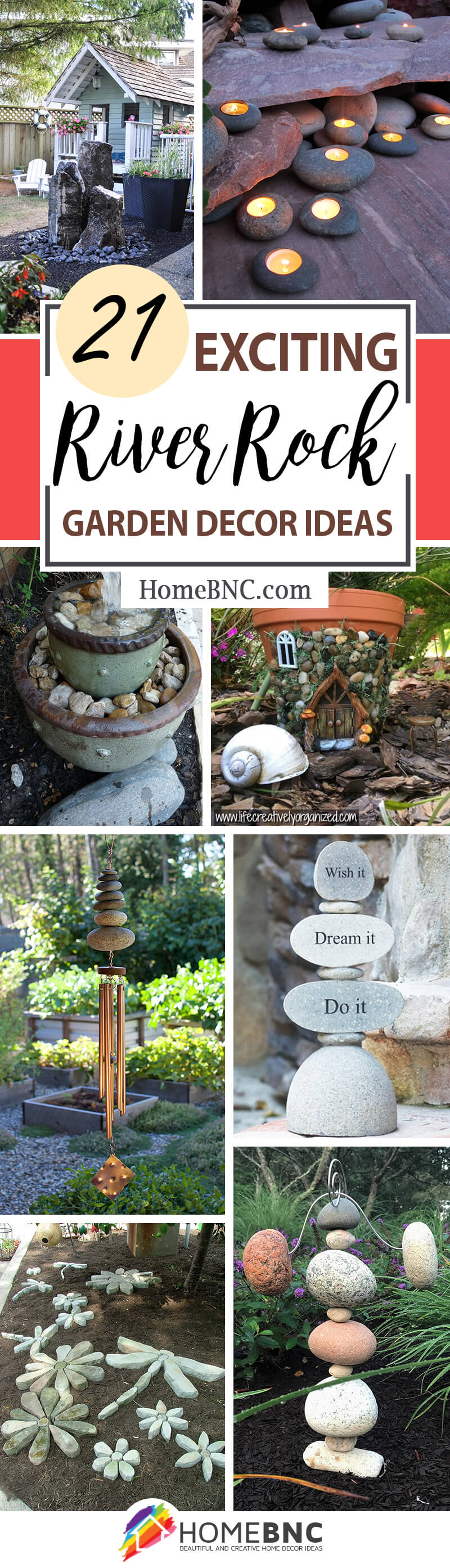 River Rock and Stone Garden Decorating Ideas