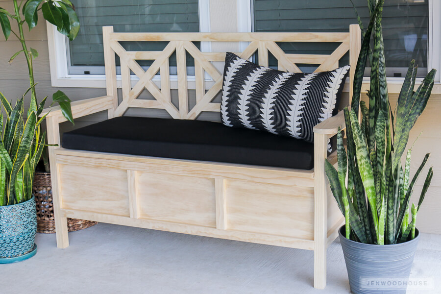 Light Wood Cushioned Storage Bench