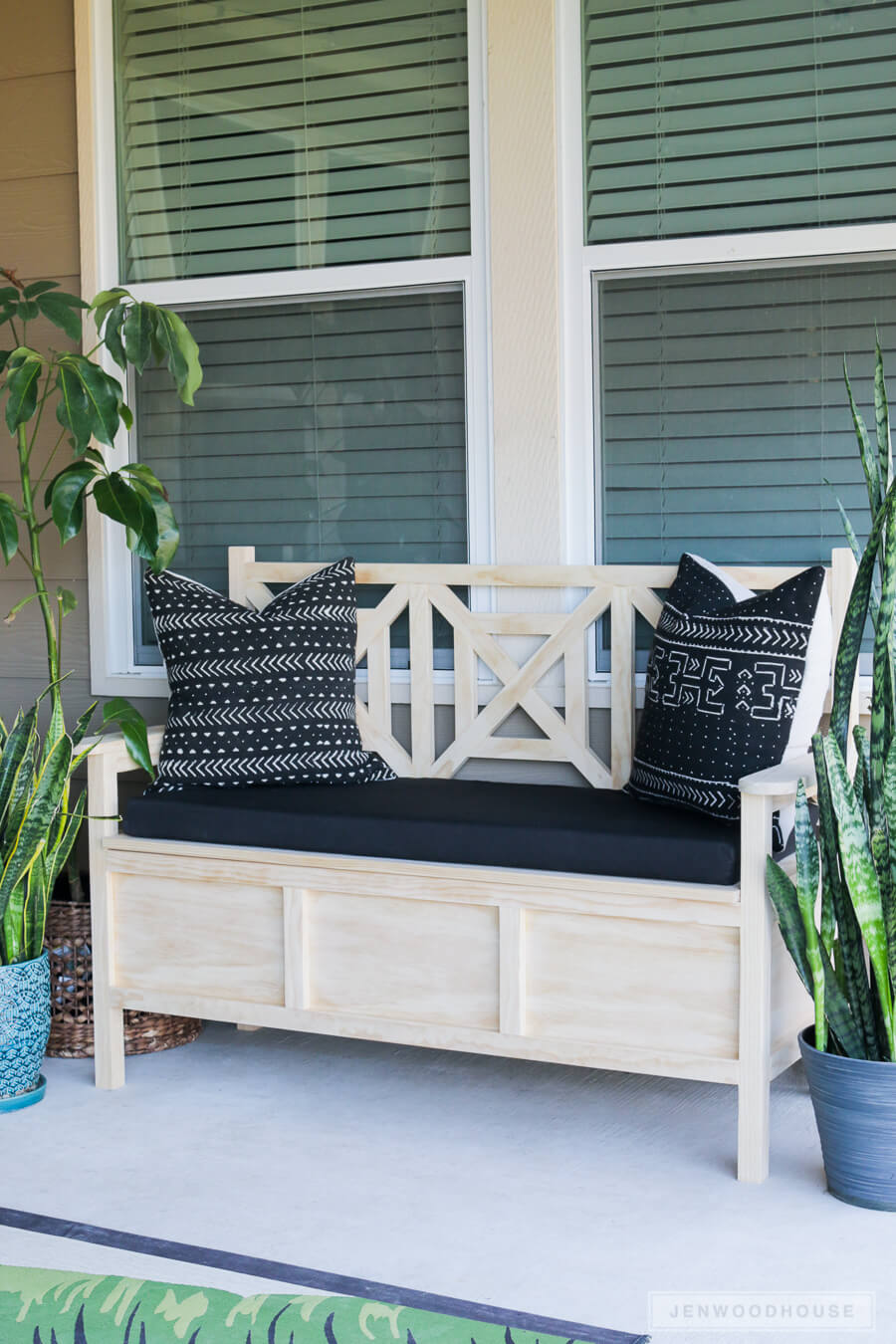 Light Wood Cushioned Storage Bench
