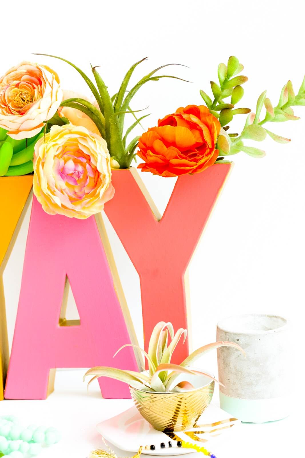 Springy Decorative Letter Vases