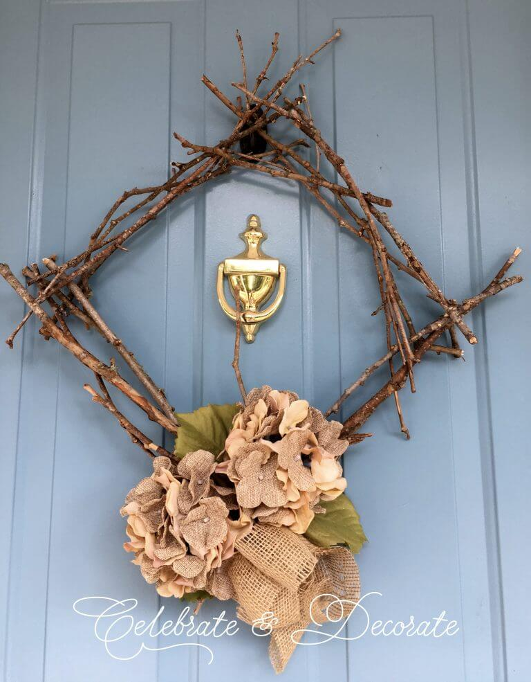 Rustic Twig Wreath with a Farmhouse Touch
