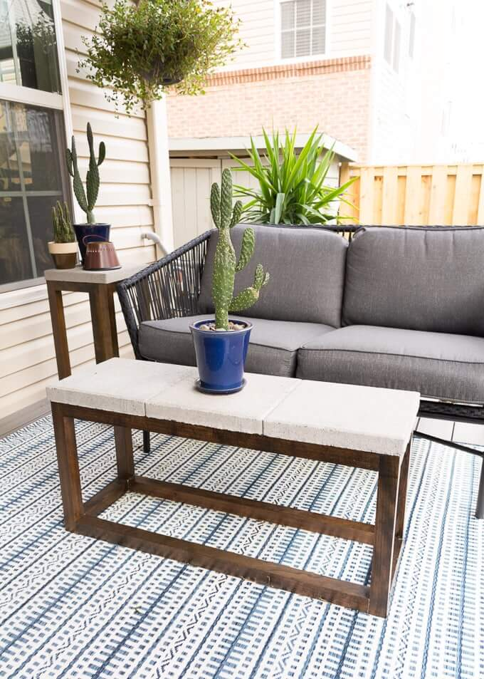 All-Weather Concrete and Wood Patio Table