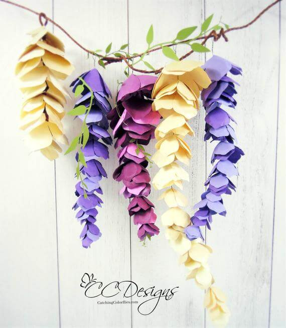 Delicate Hanging Multi-Colored Wisteria