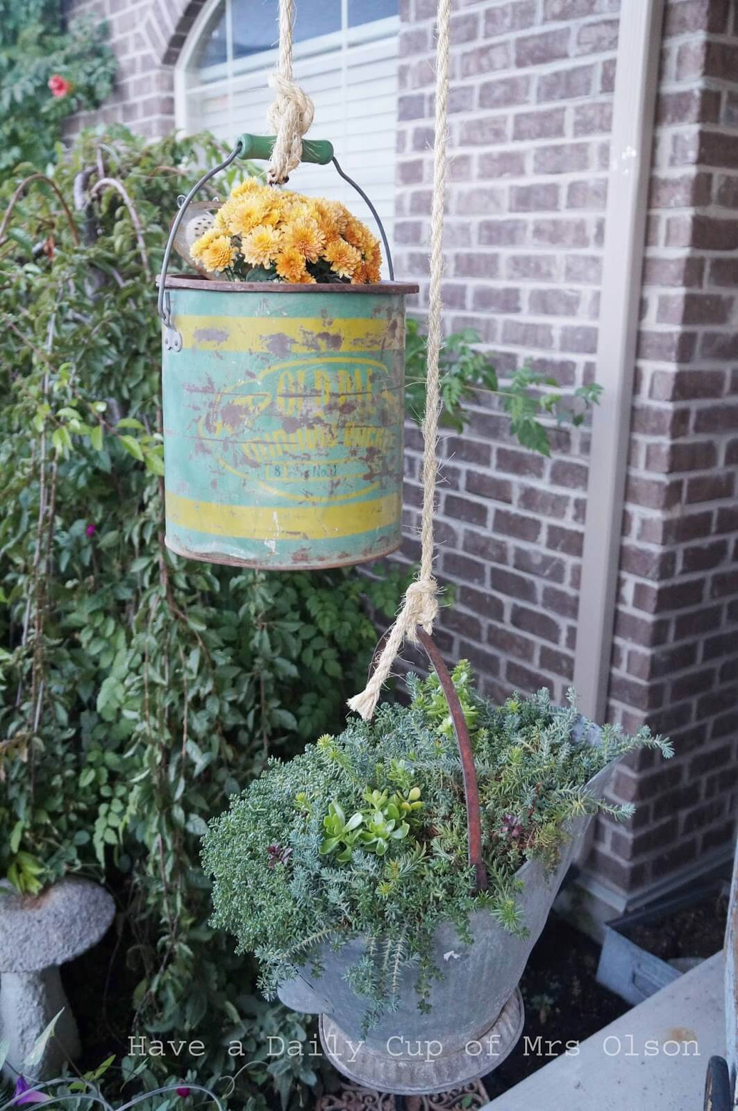 Antique Hanging Galvanized Bucket Planter