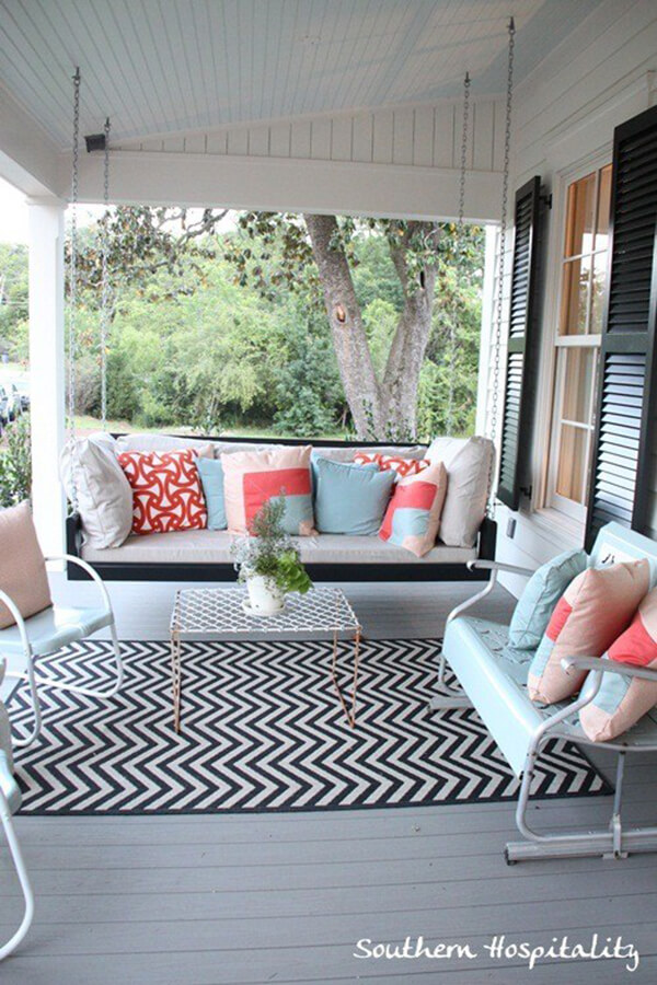 Picturesque Porch Swing and Retro Chairs