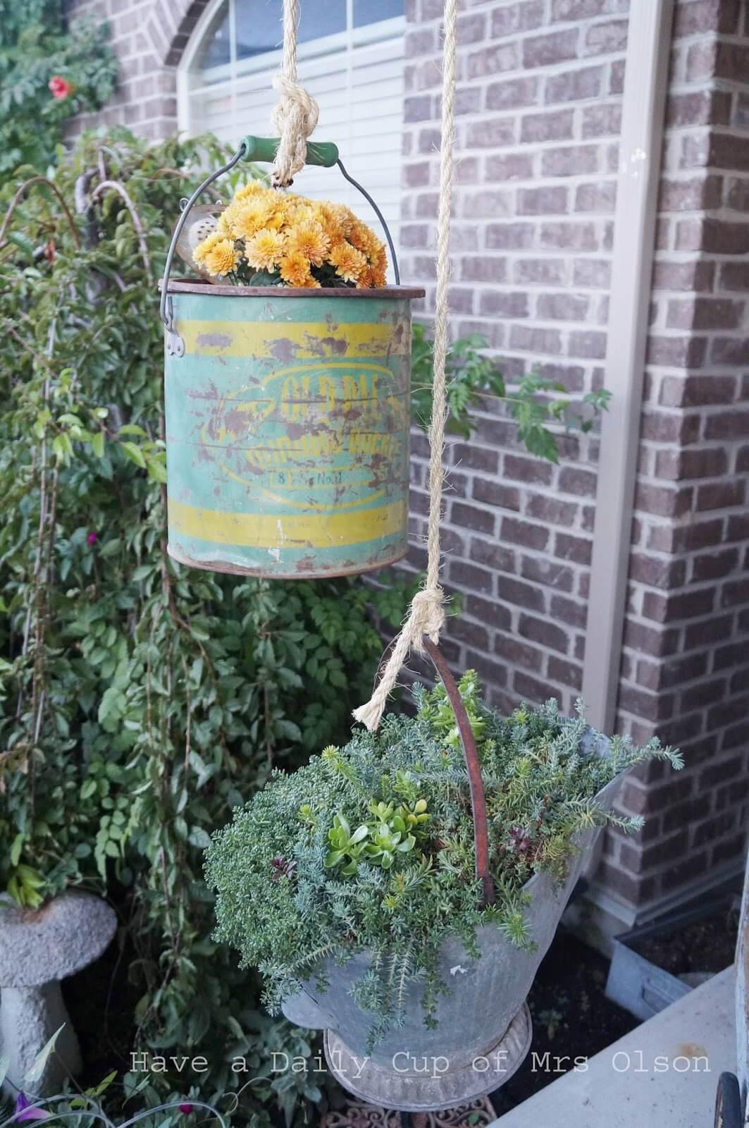 Antique Hanging Galvanized Bucket Planter