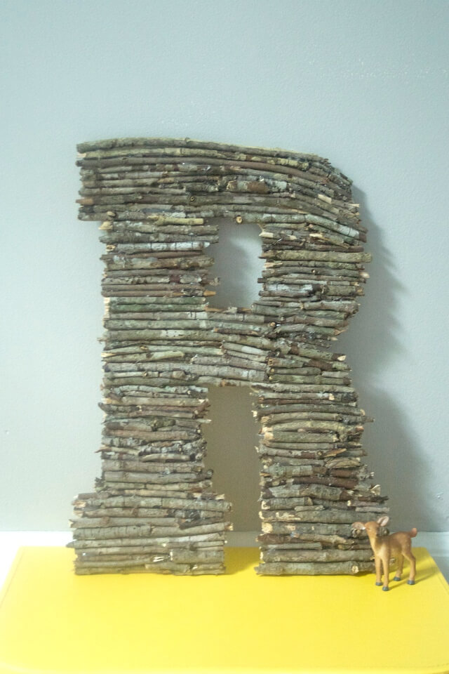 Wooden Letter Monogram Made Using Twigs