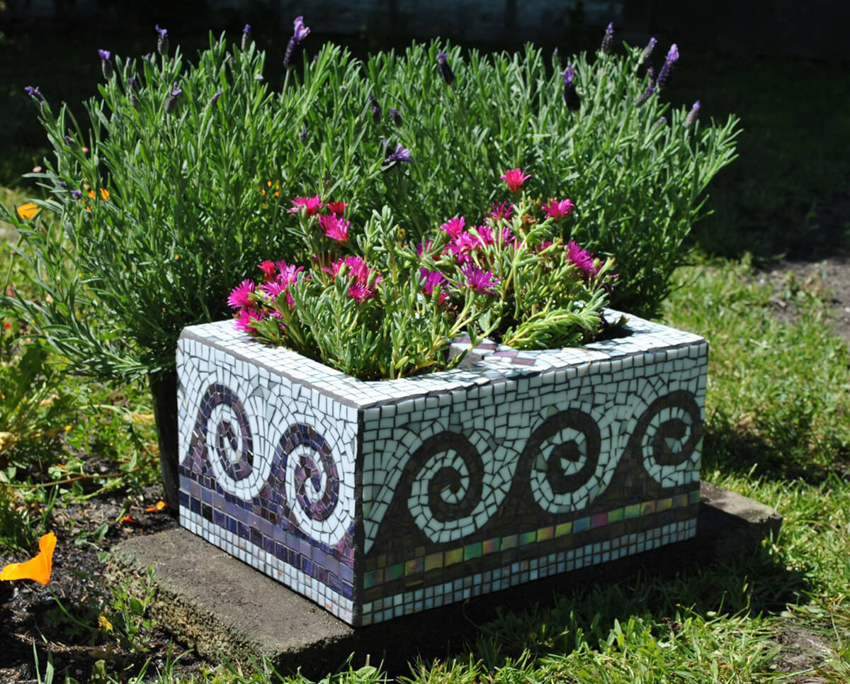 A Stylish Mosaic Garden Planter with Cinder Blocks