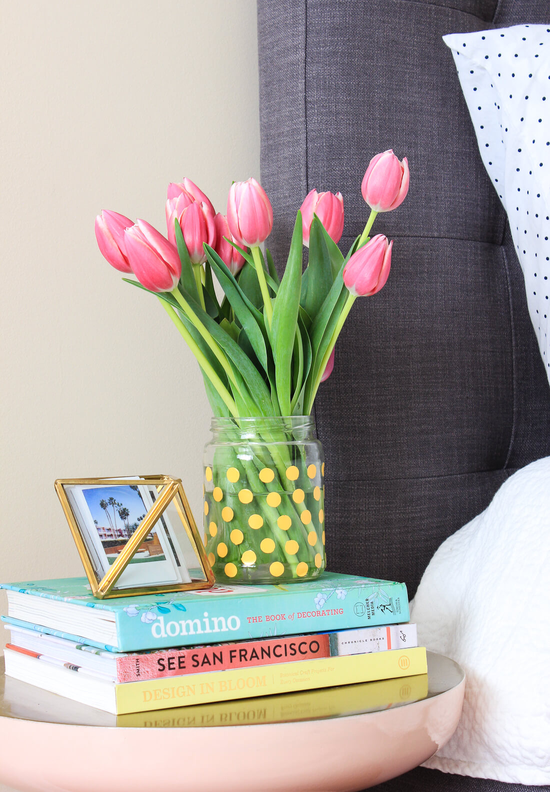 Adorable Polka Dotted Jar Turned Vase