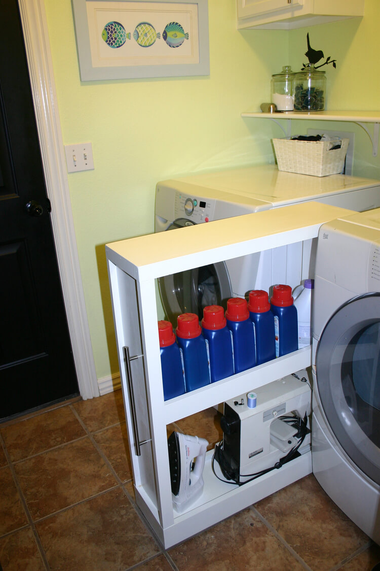 Hidden Rollout Shelves for Laundry Supplies