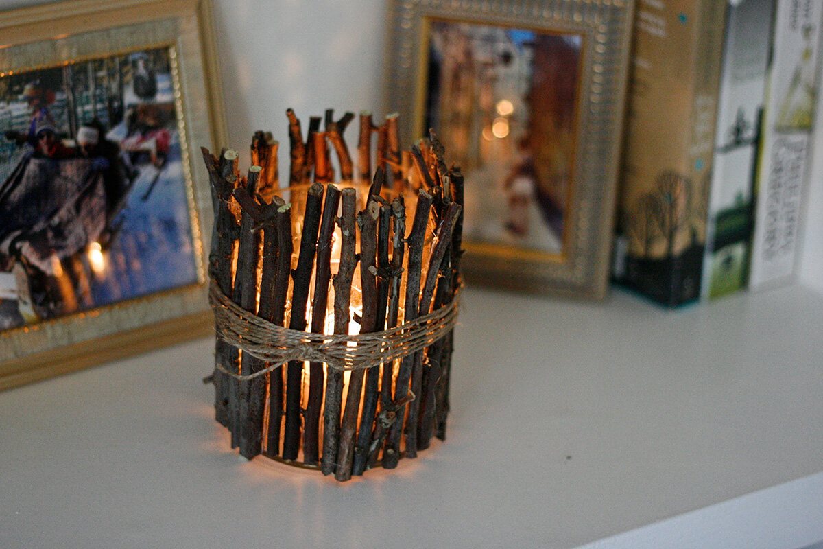 DIY Rustic Twig Candle Holder