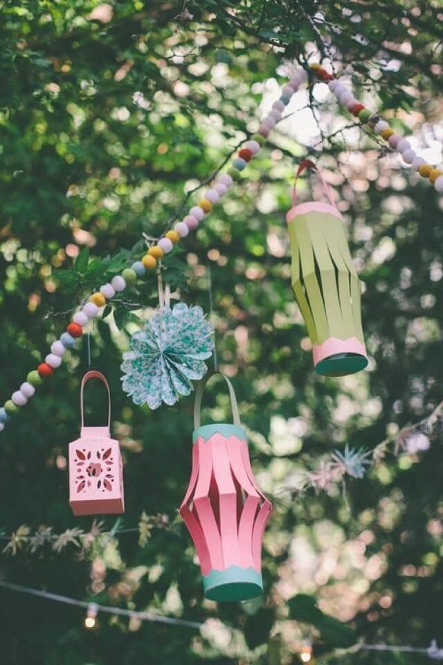 Colorful DIY Construction Paper Lanterns