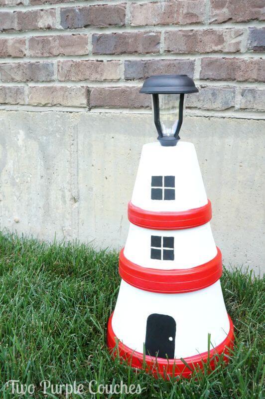 Clay Pot Lighthouse Garden Light