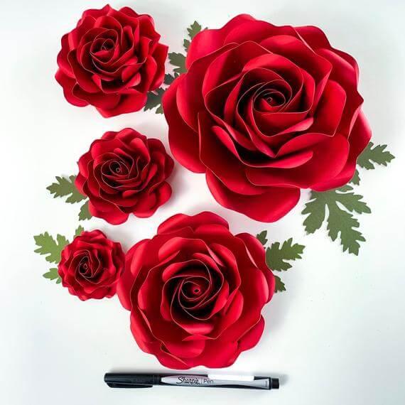 Lush Multi-Sized Template for Full Roses
