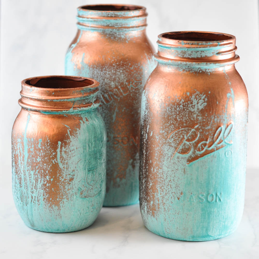 Antique Patina Metal Look Mason Jar