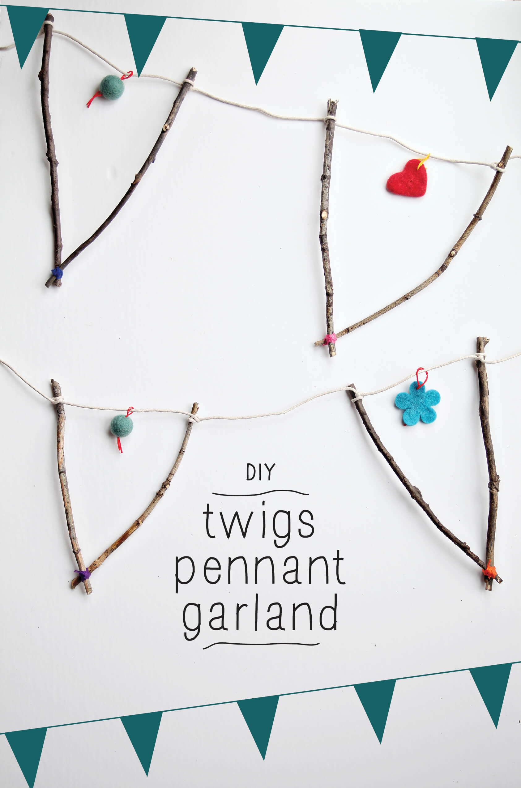 Twig Pennant Garland for Parties or Display