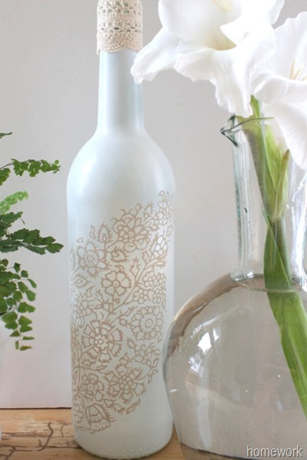 Spray-Painted and Silkscreened Wine Bottle