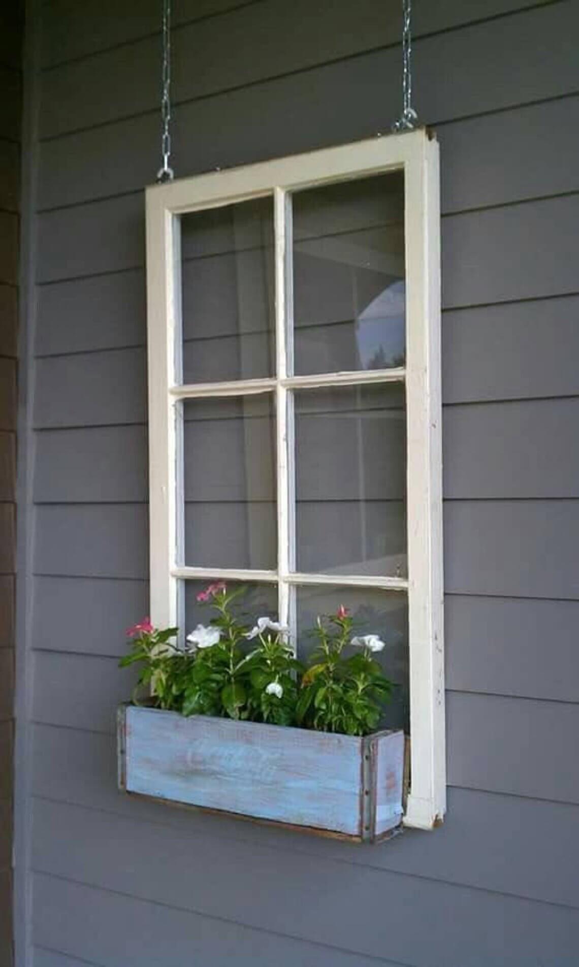 Vintage Window Frame Flower Box