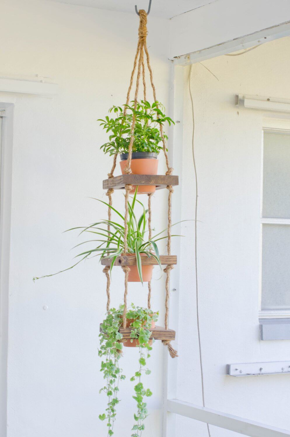 Macrame and Wood Tiered Pot Garden