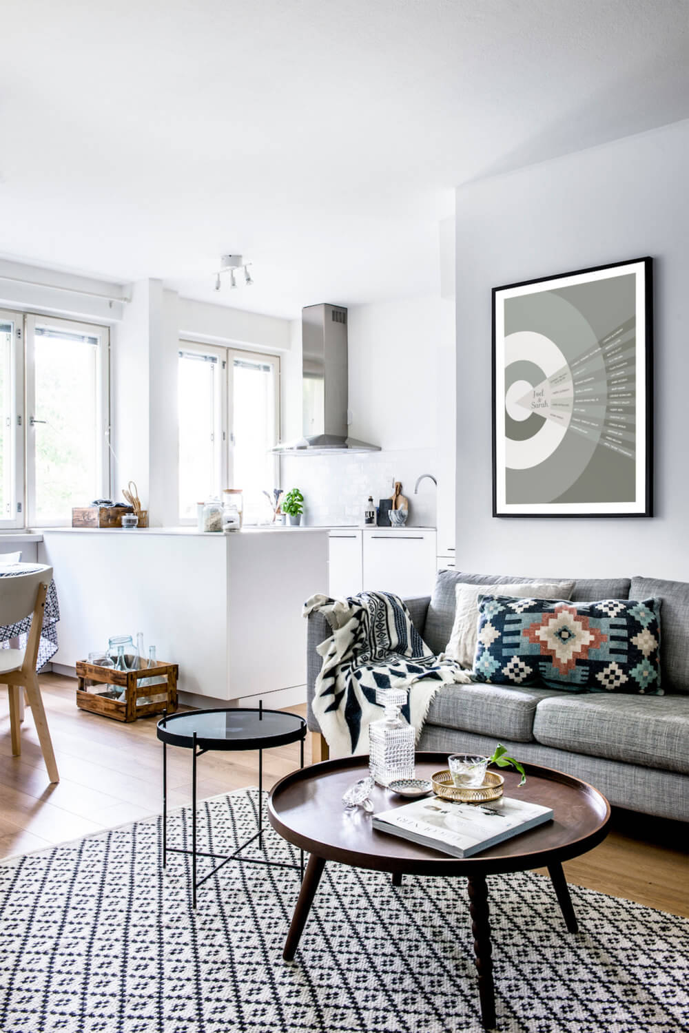 Open Floorplan Definition in Chic Grayscale