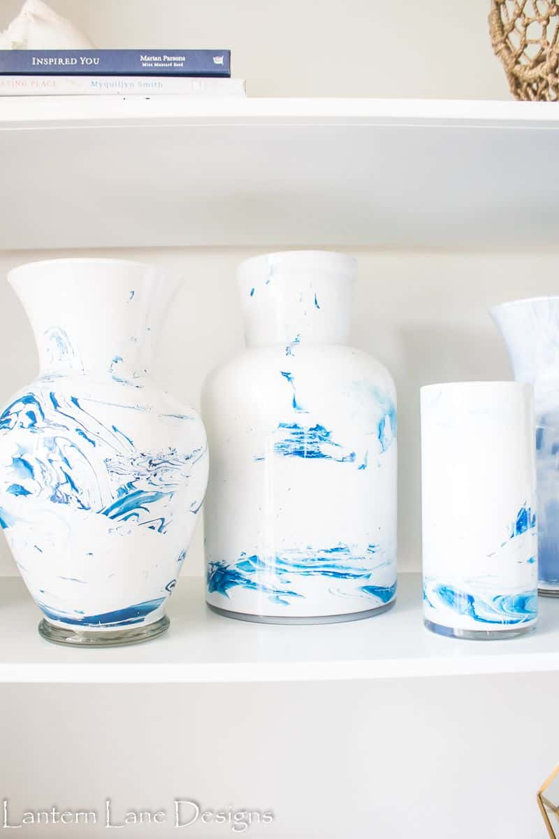 Swirling Blue and White Painted Vases