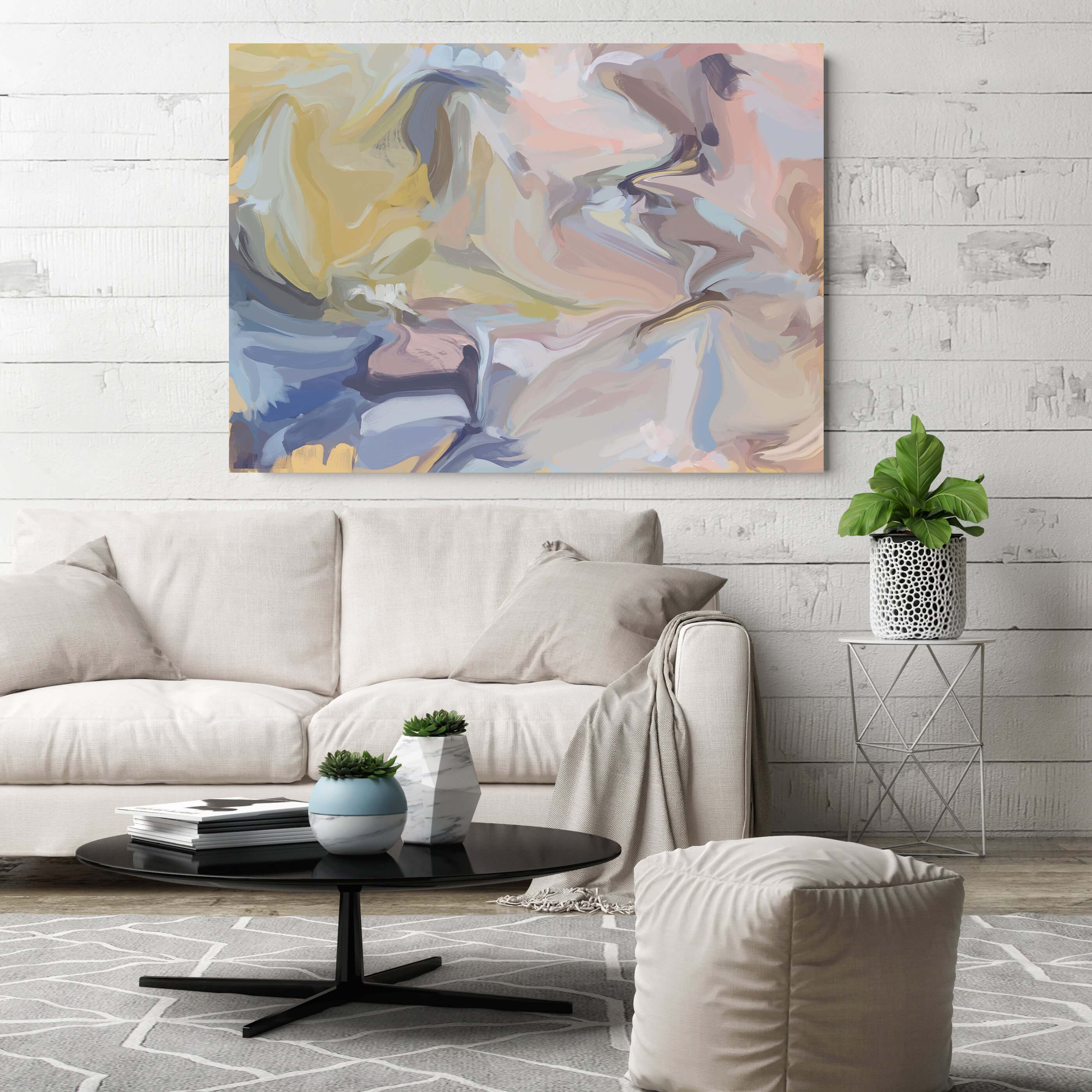 Simple Statement Art with Neutral Furniture