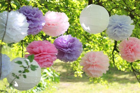Hanging Pom Pom Paper Flower Decoration