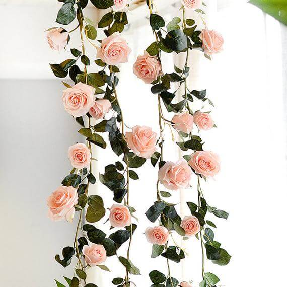 Wire-Strung Rose Garlands